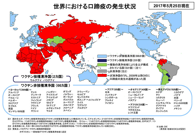 世界における口蹄疫の発生状況