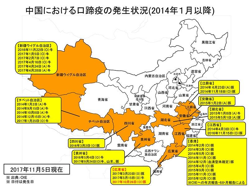 中国における口蹄疫の発生状況