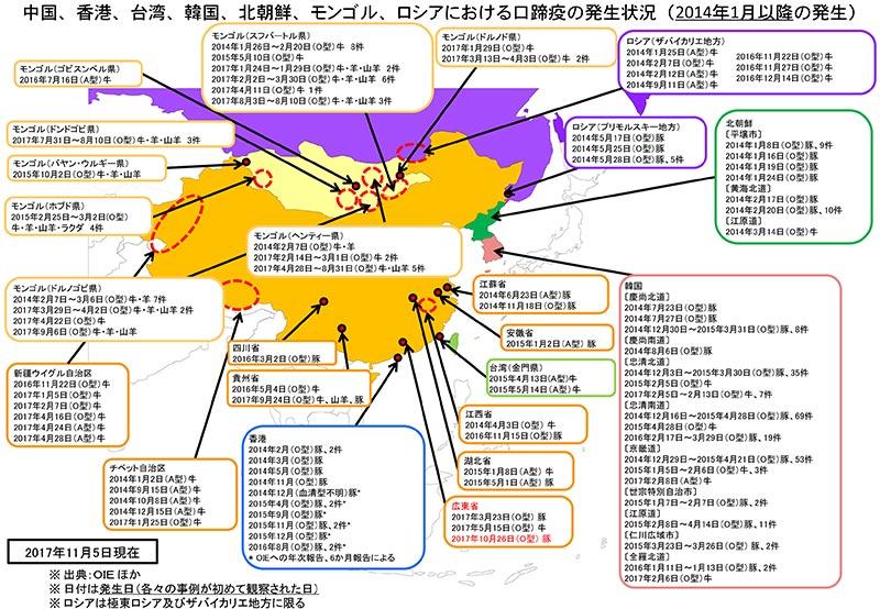 中国、香港、台湾、韓国、北朝鮮、モンゴル、ロシアにおける口蹄疫の発生状況